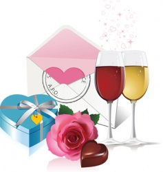 wine gift box and rose vector image vector image
