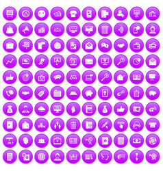 100 viral marketing icons set purple vector