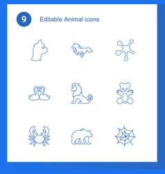 9 animal icons vector