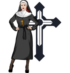 A sexy nun whit white vector