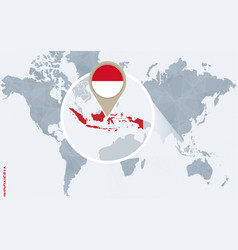 Abstract blue world map with magnified indonesia vector