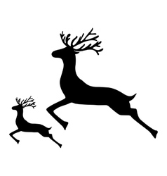 Adult Reindeer and baby deer jumping on a white vector