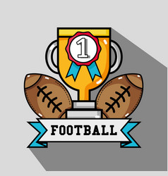 American football balls with prize cup and medal vector