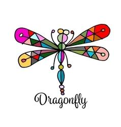Art dragonfly sketch for your design vector image