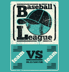 Baseball typography vintage style grunge poster vector