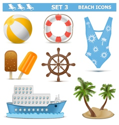 Beach icons set 3 vector