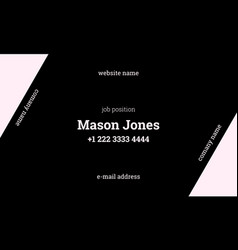 black and pink business card template strict style vector image