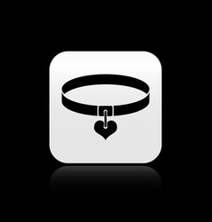 Black collar with name tag and heart icon isolated vector