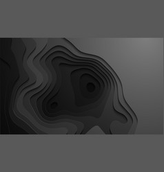 black cutout in topographic map style paper vector image