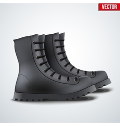 Black Leather Army Boots vector