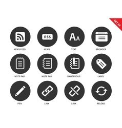 Blogger and office icons on white background vector image