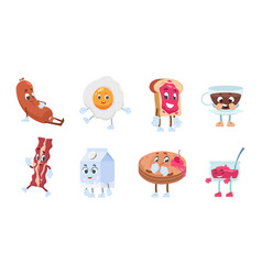 Breakfast characters breakfast food with cute vector
