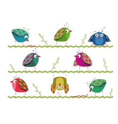 Bright Graphic Cartoon Birds Composition vector image