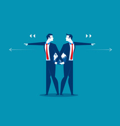Businessman leader pushing different direction vector