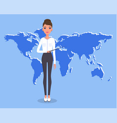 businesswoman or top manager gives global vector image