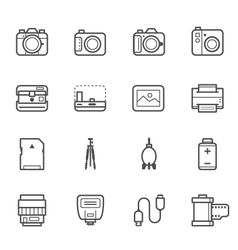 Camera and Camera Accessories Icons vector image