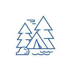 camping tent in forest line icon concept camping vector image