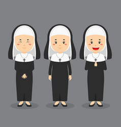 Catholic nun character with various expression vector