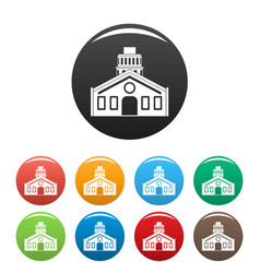 chapel icons set color vector image
