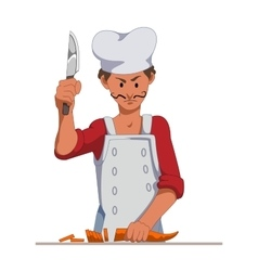 Chef with a sharp knife slice carrots cooking vector