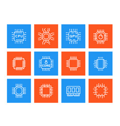 chipset microchip cpu line icons set vector image