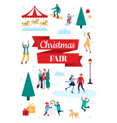 christmas fair winter holiday poster snow vector image