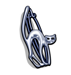 Chrome plated metal brooch in shape a cat vector