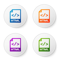 color html file document icon download html vector image