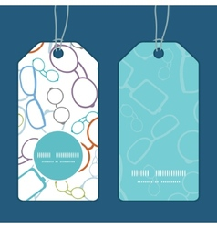 colorful glasses vertical round frame pattern tags vector image