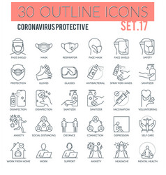 coronavirus protective outline icons vector image