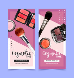 Cosmetic flyer design with brush on eyebrow vector
