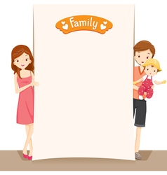 Couple And Baby With Blank Sign vector