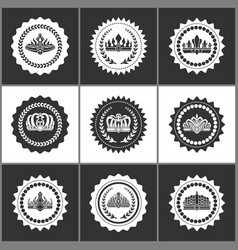 crowns and diadems on round monochrome stamps set vector image