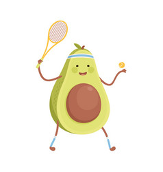 Cute avocado playing tennis funny fruit character vector