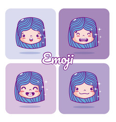 cute girl emojis vector image