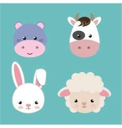 Cute set animals heads isolated icon design vector