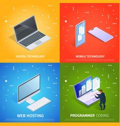 digital mobile technology web hosting coding vector image