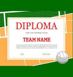 diploma for volleyball winner team template vector image