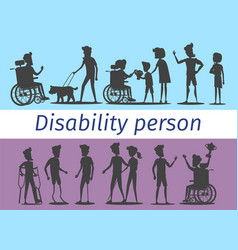 Disability person silhouettes set vector