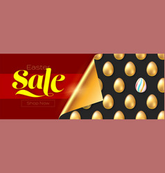 easter sale banner pattern with golden eggs vector image