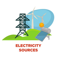 electricity sources and eco green energy power vector image