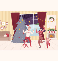 Family wearing holiday attributes dancing near the vector