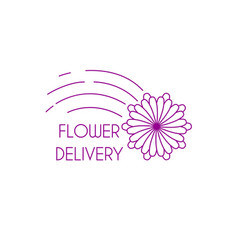 fast flower delivery linear logo vector image