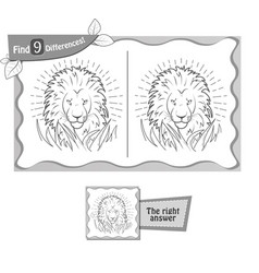 Find 9 differences game lion vector