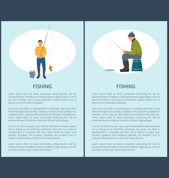 Fishing man fishery posters vector