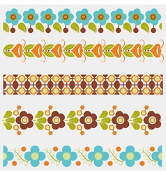 Five seamless floral borders vector image