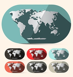 Flat Design Paper World Map Set vector image