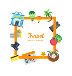 flat travel elements with place for text vector image