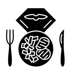Flight lunch glyph icon vector