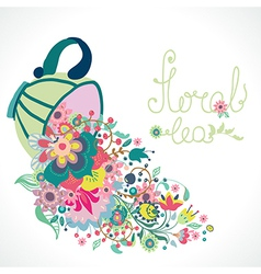 Floral with cup and flowers vector image